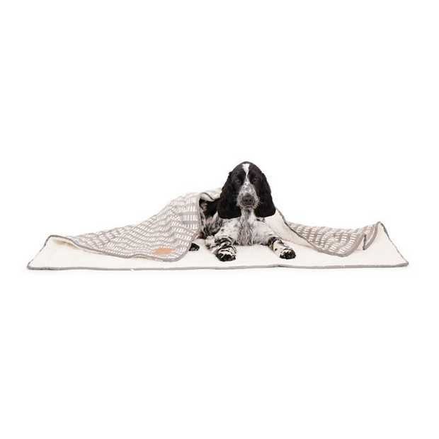 Mog & Bone Soft Reversible Pet Blanket Latte Inverse Mosaic