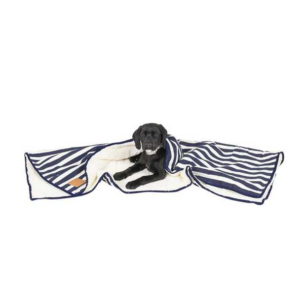Mog & Bone Soft Reversible Pet Blanket Navy Hamptons Stripe