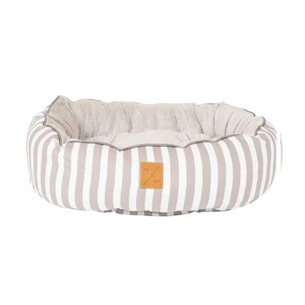 Mog & Bone 4 Seasons Reversible Dog Bed - Latte Hamptons Stripe - Medium