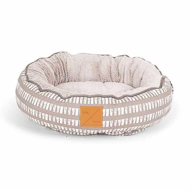 Mog & Bone 4 Seasons Reversible Dog Bed - Latte Mosaic - Medium