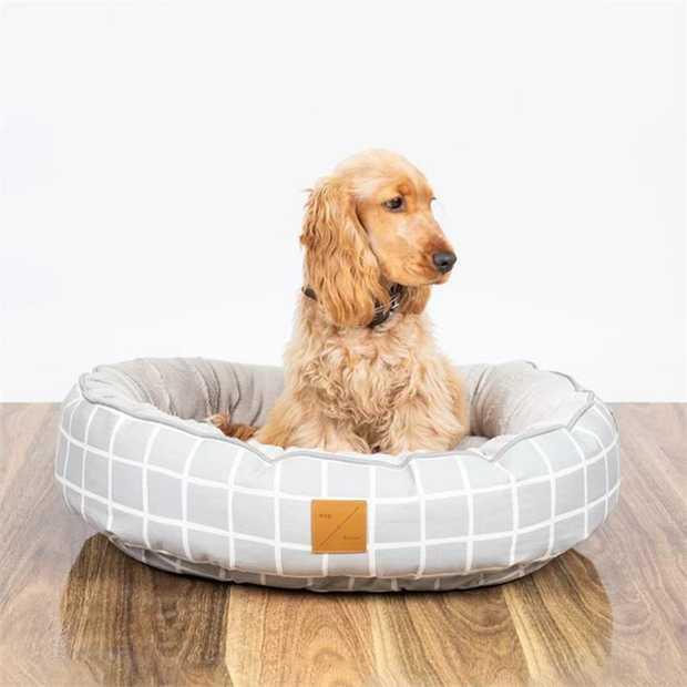 Mog & Bone 4 Seasons Reversible Dog Bed - Grey Check - Medium