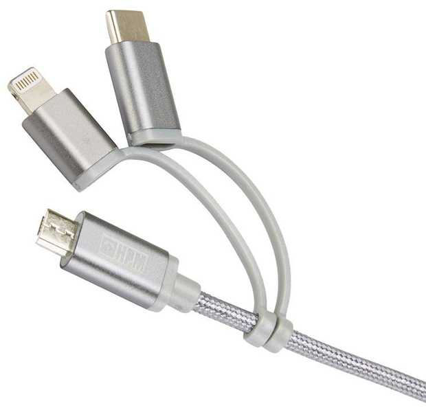 3-in-1 USB Cable (Micro B, Lightning, USB-C) Suitable for Apple & Android devices Charge, synchronise...