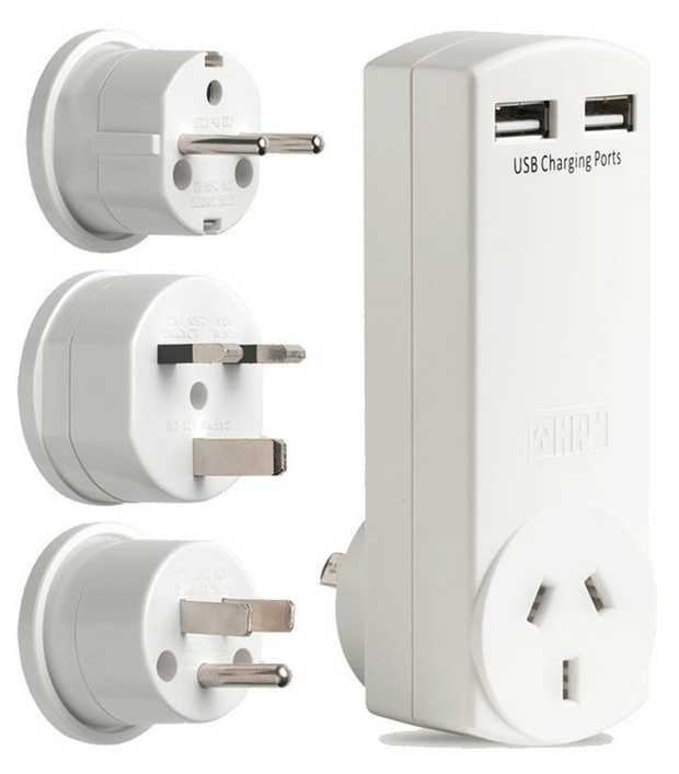 Ideal for international jet-setters Fast charging 2 x 2.4A USB sockets 250V a.c. 10A (adaptors only) 5V...