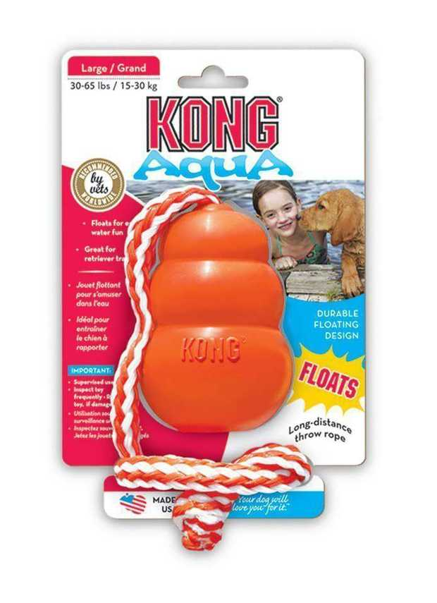 KONG Aqua Classic Shape Fetch Dog Toy on a Rope - Medium