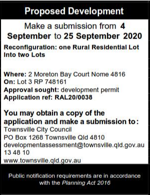 Make a submission from 4 September to 25 September 2020Reconfiguration: one Rural Residential Lot Into...