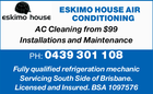 ESKIMO HOUSE AIR CONDITIONING