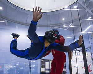 Feel the thrill of two indoor skydiving flights at iFLY Brisbane equivalent to freefalling from...