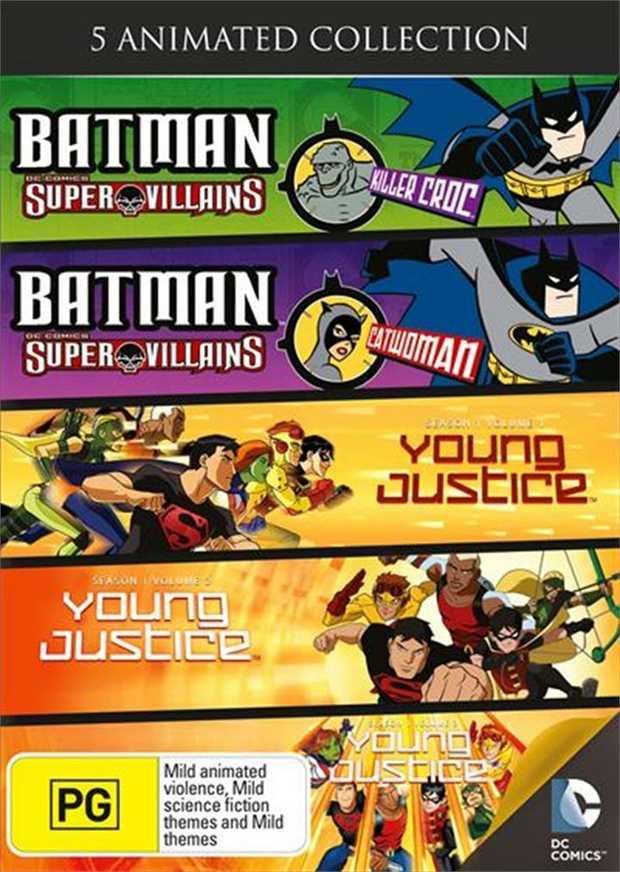 Contains Super Villains Killer Croc, Super Villains Catwoman, Young Justice S1 Vol 1, 2 and 3