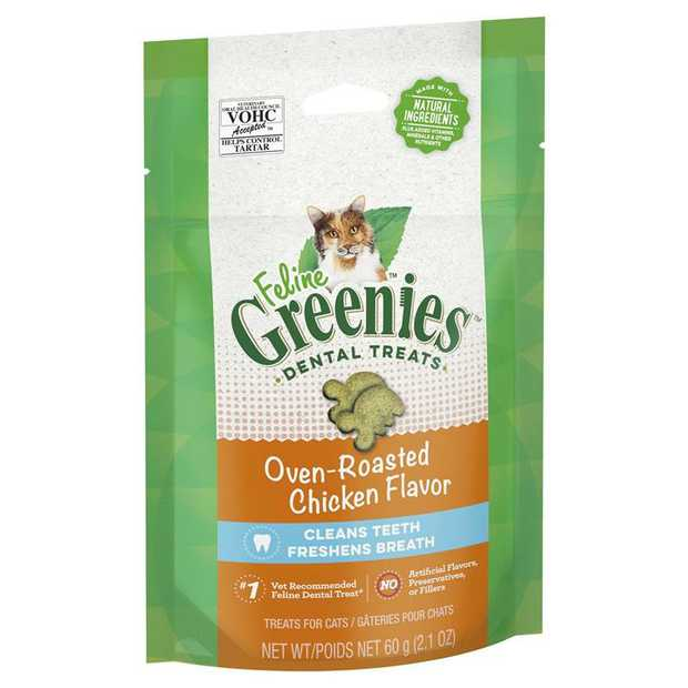 Greenies Feline Cat Dental Treats Oven Roasted Chicken Flavor 60g