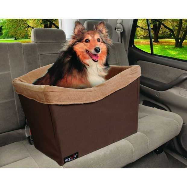 Happy Ride Solvit Jumbo On-Seat Booster Safety Seat in Chocolate for Small to Medium Dogs