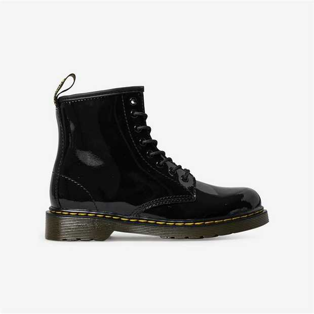 A mini 1460 for juniors, this patent leather boot features an ankle zip for little fingers (and...