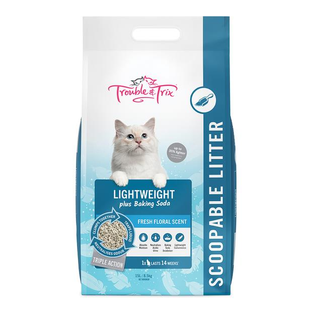 Trouble And Trix Lightweight Scoopable Cat Litter Fresh Floral 15L Pet: Cat Category: Cat Supplies ...