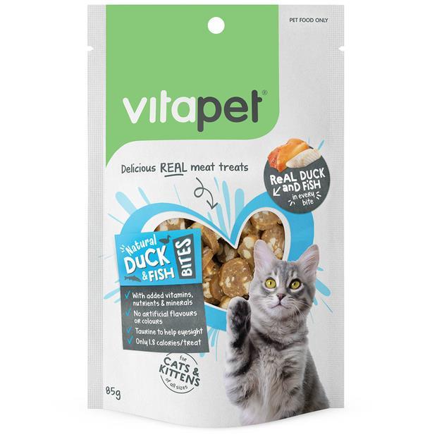 Vitapet Cat Treats Natural Duck And Fish Bites 3 X 85g Pet: Cat Category: Cat Supplies  Size: 0.3kg...
