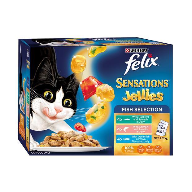 Felix Wet Cat Food Sensations Jellies Fishy Selection 12 X 85g Pet: Cat Category: Cat Supplies  Size:...