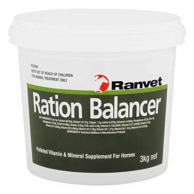 Ranvet Ration Balancer Pellets 3kg Pet: Horse Size: 3.1kg  Rich Description: Suitable for racing high...