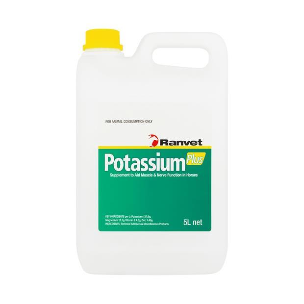 Ranvet Potassium Plus 5L Pet: Horse Size: 5.1kg  Rich Description: Suitable for horses requiring...