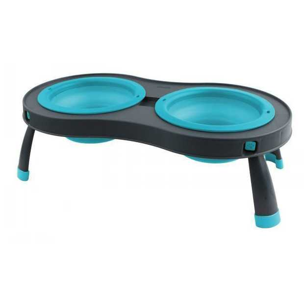 PopWare Elevated Pet Feeder with Double Collapsible Bowls [Size: Small] [Colour: Blue]