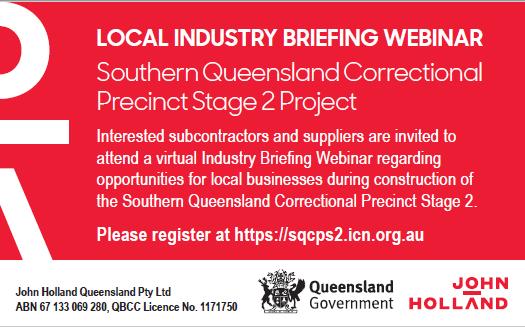 LOCAL INDUSTRY BRIEFING WEBINAR   Southern Queensland Correctional Precinct Stage 2...
