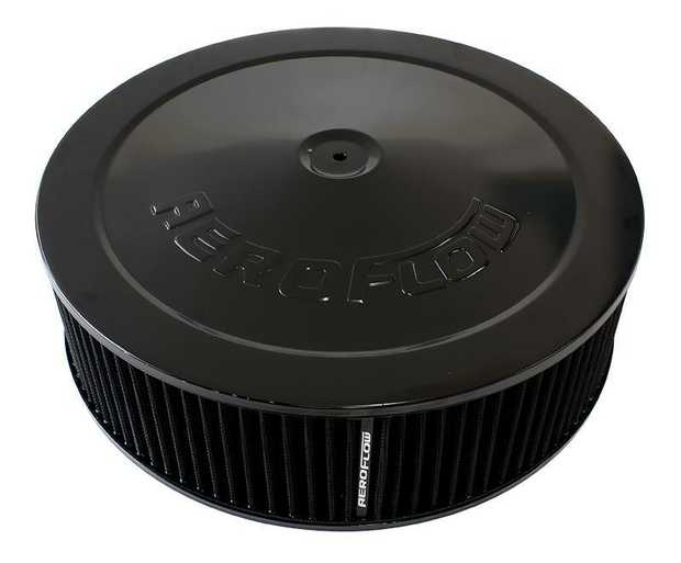 "Black Air Filter Assembly with 1-1/8"" Drop base 14"" x 4"", 5-1/8"" neck, black washable cotton element"