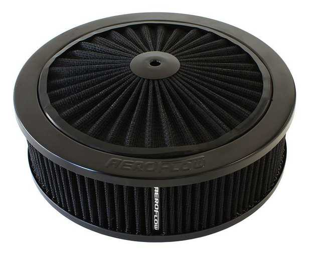 "Black Full Flow Air Filter Assembly 9"" x 2-3/4"", 5-1/8"" neck, black washable cotton element"
