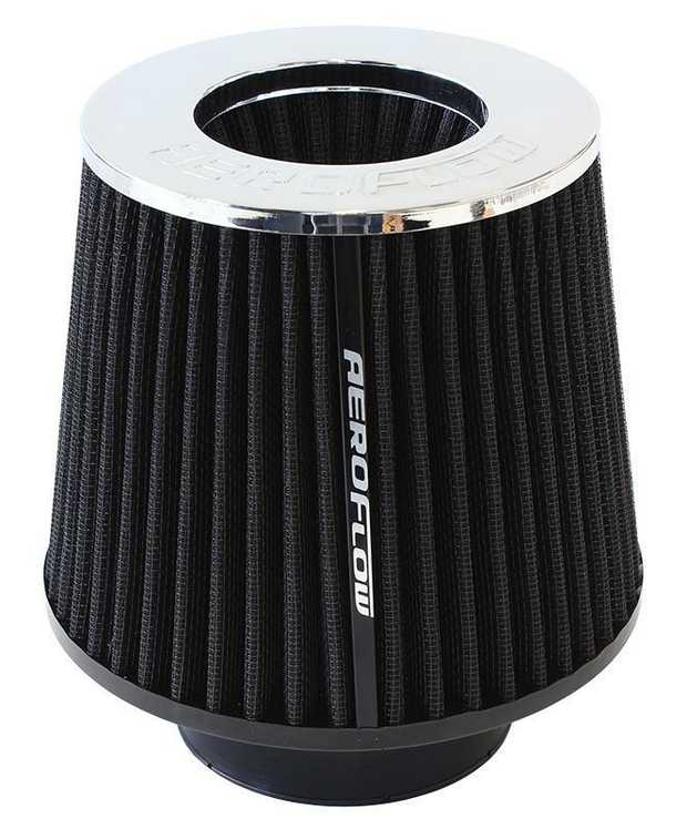 """Round Inverted Tapered Air Filter Element with Chrome Ends 5-1/4-6"""" O.D. x 5"""" high, washable cotton..."""