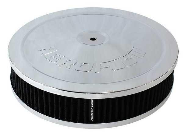 "Chrome Air Filter Assembly 9"" x 2"", 5-1/8"" neck, black washable cotton element"