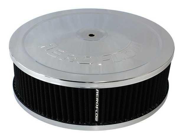 "Chrome Air Filter Assembly 9"" x 2-3/4"", 5-1/8"" neck, black washable cotton element"