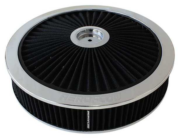 """Chrome Full Flow Air Filter Assembly with 1-1/8"""" Drop base 14"""" x 3"""", 5-1/8"""" neck, black washable cotton..."""