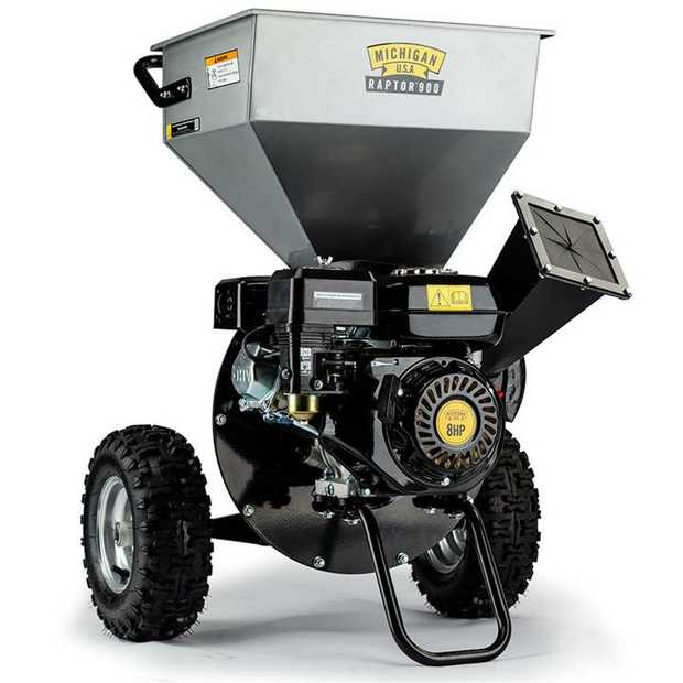The Michigan Raptor 900 2-in-1 Portable Wood Chipper/Shredder features an innovative self-feeding...