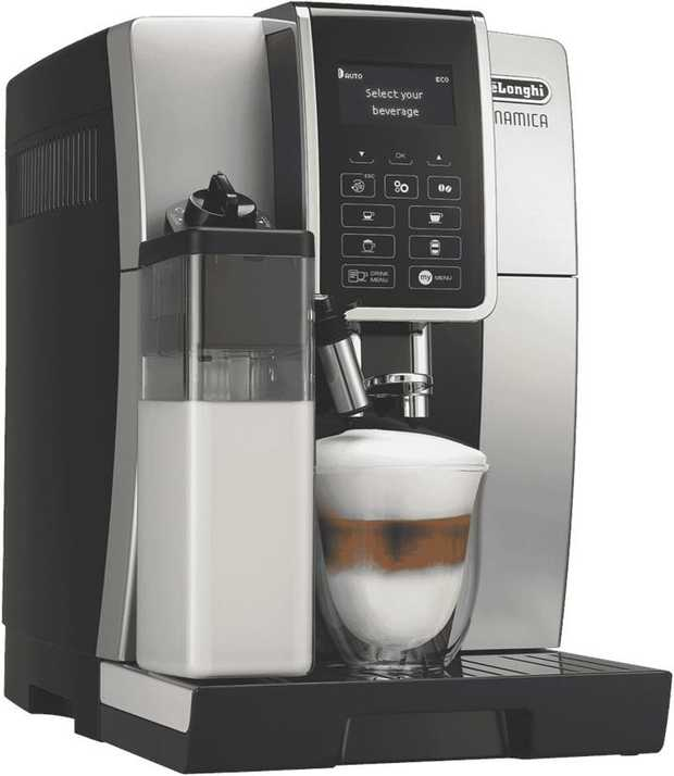 This DeLonghi coffee machine's espresso maker lets you serve espresso drinks anytime. It has a black...