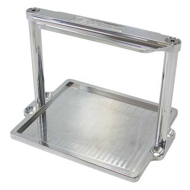 Aeroflow Billet Battery Hold Down trays are available in polished alloy and black anodised finishes.