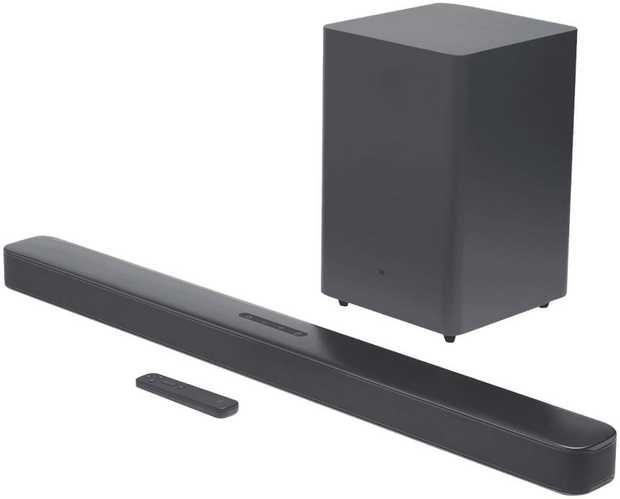 This JBL sound bar speaker features two channels. Its 300 W total output lets you crank up your tunes.