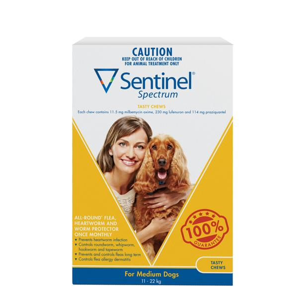 Sentinel Spectrum Chews Medium Yellow 2 X 6 Pack Pet: Dog Category: Dog Supplies  Size: 0.4kg  Rich...