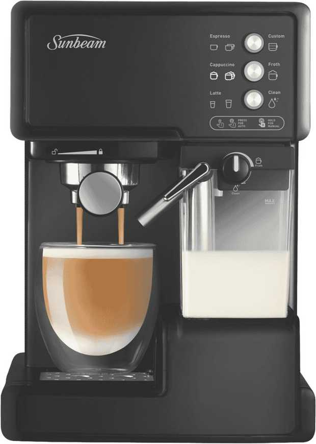 The Sunbeam EM5000K has a black finish and a frother. Simply prepare excellent coffee with minimal...