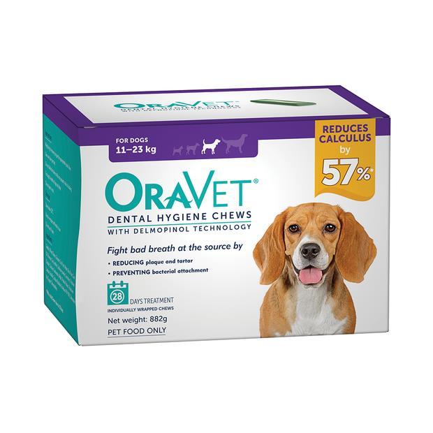 Oravet Dental Hygiene Chews Medium 2 X 28 Chews Pet: Dog Category: Dog Supplies  Size: 0.9kg  Rich...