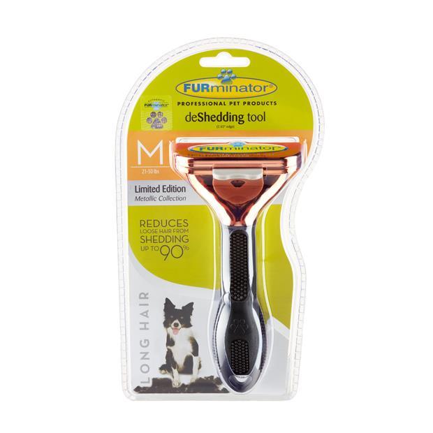Furminator Long Hair Medium Dog Metallic Rose Gold Medium Pet: Dog Category: Dog Supplies  Size: 0.2kg...