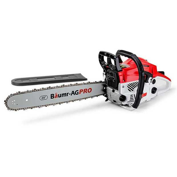 "Fire up the Baumr-AG Pro 20"" SX52 Chainsaw and let the huge power of its 52cc engine and direct..."