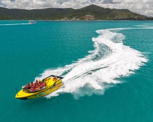 Jump on board and prepare to get wet on this thrilling Airlie Beach jet boat ride. This is the ultimate...