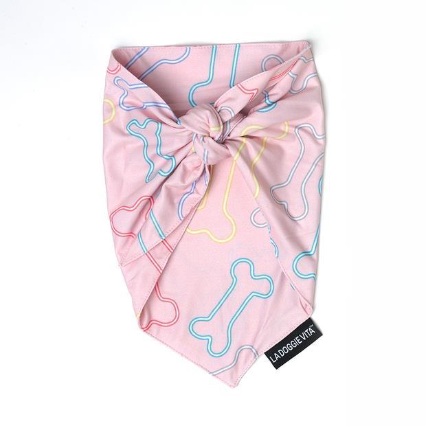 La Doggie Vita Bandana Neon Bone Pink Small Pet: Dog Category: Dog Supplies  Size: 0kg Colour: Pink...
