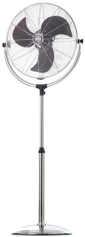 120W motor 3 speed settings Hideen rotary switch control Vertical tilt adjust Aluminium blades Height...