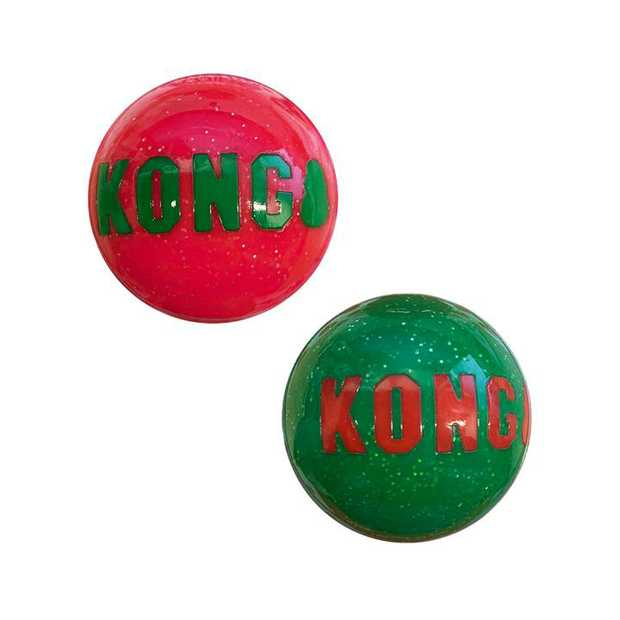 KONG Christmas Holiday Signature Balls Fetch Dog Toy - 2-Pack of Medium Balls