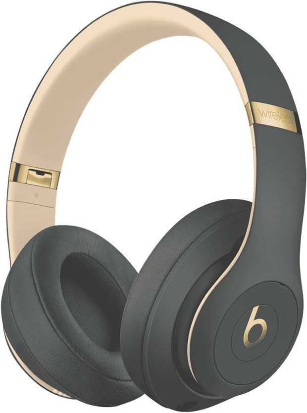 These grey Beats headphones are over-the-ear headphones. They feature wireless connectivity, allowing...