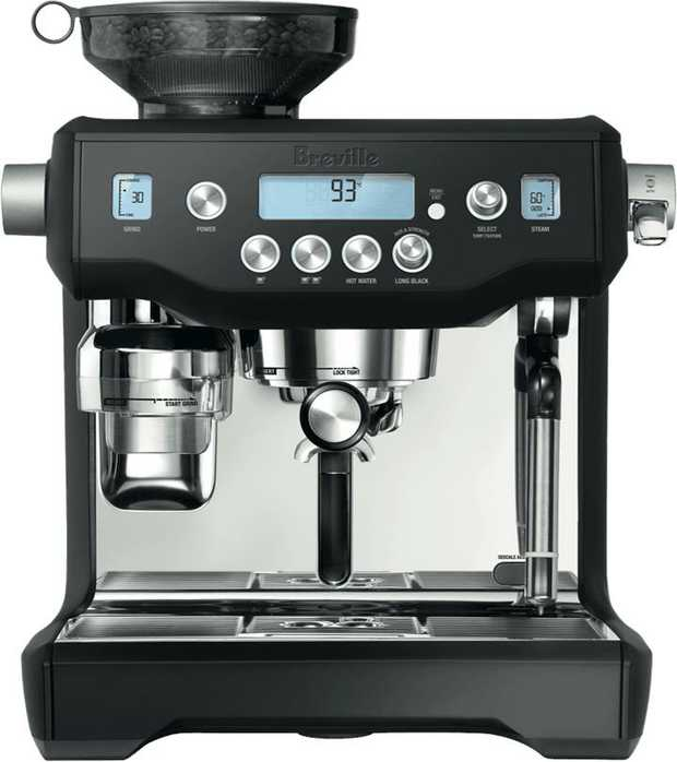 This Breville coffee machine has a black finish and a frother. It has a 2 cup brewing capacity, so you...