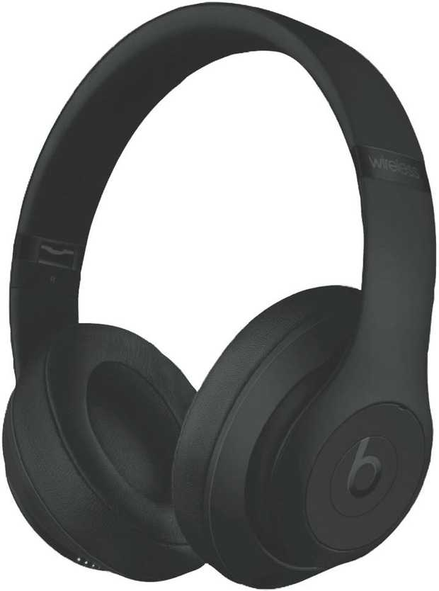 These black Beats headphones are over-the-ear headphones. Their wireless connectivity lets you connect...