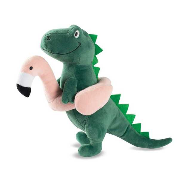Fringe Studio Pool Time T-Rex with Flamingo Floatie Plush Squeaker Dog Toy