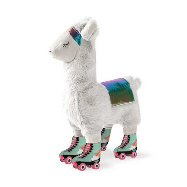 Fringe Studio Llama On Roller Skates Plush Squeaker Dog Toy