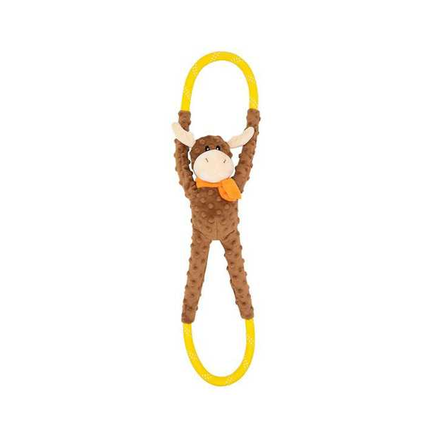 Zippy Paws RopeTugz Plush Squeaker Dog Toy - Moose