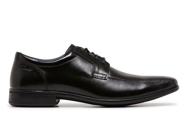 The Clarks Mens Camden (F) Black is a formal and durable black leather school shoe from Clarks.