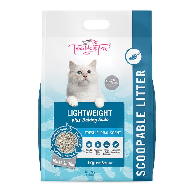 Trouble And Trix Lightweight Scoopable Cat Litter Plus Baking Soda Fresh Floral 10L Pet: Cat Category:...
