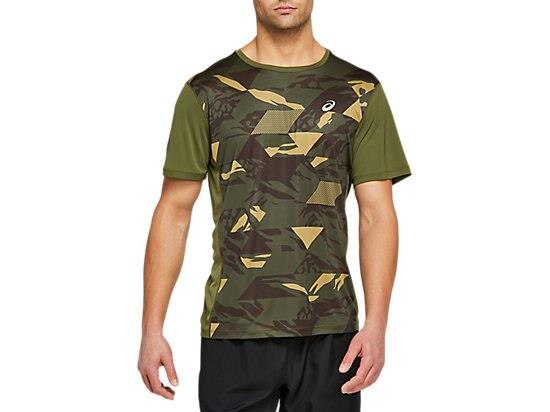 The FUTURE CAMO SHORT SLEEVED TOP is constructed with a crewneck design and a seamless stitch pattern.